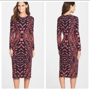 Maggy London • navy pink printed midi sheath dress